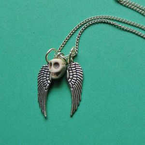Image of Skull Spirit Angel Wing Charm Necklace (Various Colours)