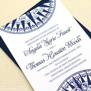 Image of Navy Compass Wedding Invitations