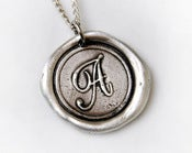 Image of As seen in Beautiful Bride Magazine September 2012 issue! Monogram wax seal necklace
