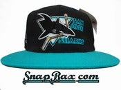 Image of Deadstock Vintage San Jose Sharks American Needle Blockhead Snapback Hat Cap