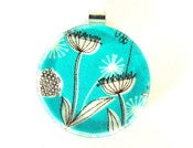 Image of Large Round Glass Pendants - Turquoise Flower Power