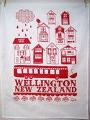 Image of Wellington New Zealand tea towel Red