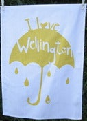 Image of I Love Wellington tea towel in mustard