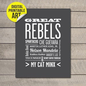 Image of Custom Name Printable JPEG or PDF - Great Rebels (choice of 30 colours) - 20x25cm