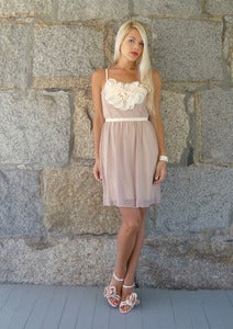 Image of Posey: Blush Vintage Lace Dress with Silk Applique & Pearls