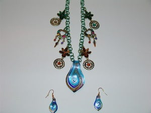 Image of Blue Wave Glass And Jewels Necklace