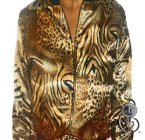 Image of Womens Eye Of The Tiger Silk Cropped Jacket