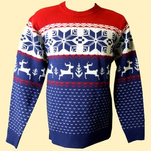 Image of Unisex Winter Wonderland Knitted Christmas Jumper/Sweater (Blue)