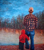 Image of Me and Dad Fine Art Print-16x20 Fine Art Canvas Print