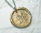 Image of NEW Brilliant gold flake wax seal pendant by Ritzy Misfit