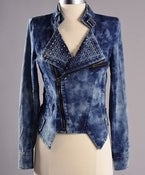Image of STUDDED  ACID WASH DENIM JACKET