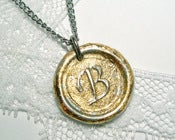 Image of NEW brilliant gold flake MINI wax seal pendant by Ritzy Misfit