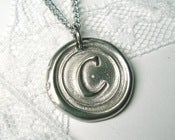"Image of Brighter, shinier silver wax seal stamped ""mini"" monogram necklace By Ritzy Misfit"