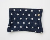 Image of polka dot denim zipper pouch