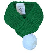 Image of SOLID GREEN SCARF WITH POM POM