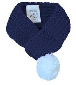 Image of SOLID BLUE SCARF WITH POM POM