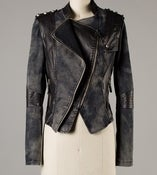 Image of Rocker Style Denim jacket with pu leather details