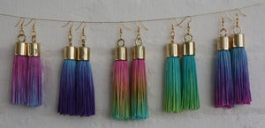 Image of TROPICAL DIP DYED TASSEL EARRINGS
