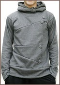 Image of Men's Button Down Hoodie in Charcoal Gray
