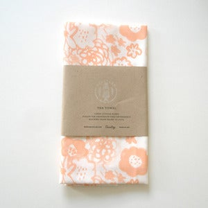 Image of Flowers Tea Towel - Peach