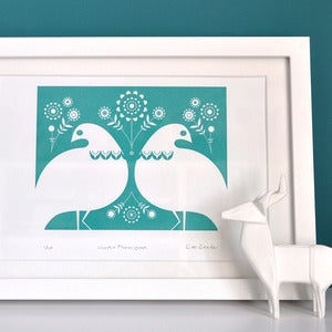 Image of Winter Ptarmigan in Turquoise- Hand Printed Gocco Print