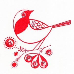 Image of Robin - Hand Pulled, Signed, Gocco Print