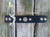 Image of Black Tooled Vintage Leather w/ Vintage Rhinestone Buttons and Snap Closure