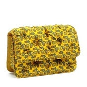 Image of Designer Vintage Silk Scarves Handbag - Yellow
