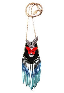 Image of Crazy Rabbit leather, crystal and glass pouch necklace