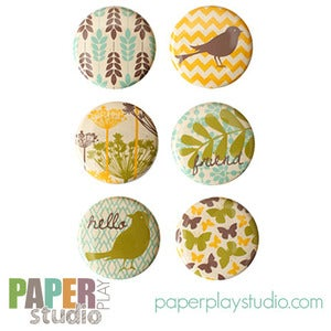 Image of Songbird - Set of 6 Flair Buttons