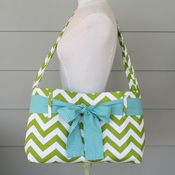 Image of messenger bag - lime green chevron