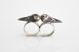 Image of Double Knuckle Raven Skull Ring