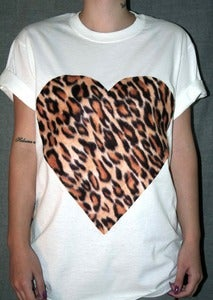 Image of Leopard Print Heart White T Shirt