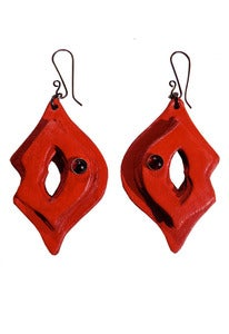 Image of Lipstick cherry red leather and garnet earrings + colors