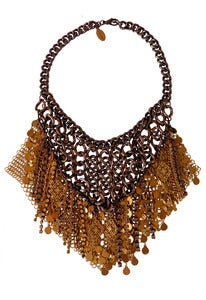 Image of Gilded chainmaille, filigree and crystal necklace