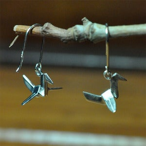 Image of Sterling Silver Origami Crane Earrings