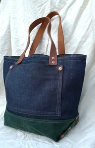 Image of selvedge denim tote with waxed cotton base