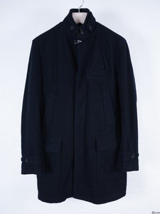 Image of Engineered Garments - Navy Melton Chesterford Coat
