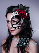 "Image of ""La Calavera Catrina"" Mexican Day of the Dead Half Mask Halloween Pop Surreal Headdress"