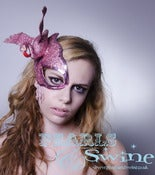 Image of &quot;Savanna&quot; Pink Flamingo Half Mask Fascinator Halloween Pop Surreal Headdress