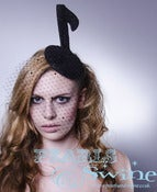 "Image of ""Melody"" Musical Note Veiled Fascinator Veiling Black Glitter"
