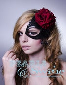 "Image of ""Love Potion No. 9"" Half Mask Fascinator Black Red Roses Spanish Headdress"