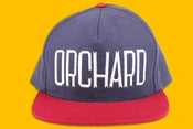 Image of Orchard Brand Navy/Red Flannel & Canvas Sherman Text Snapback