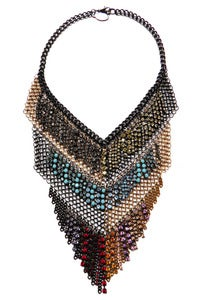 Image of Grand Checkerboard ombre crystal and chainmaille necklace