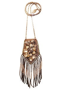 Image of Flower Bomb leather, crystal and mother of pearl pouch necklace