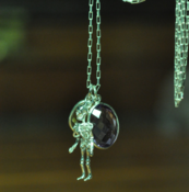 Image of Articulated Sterling Silver Skeleton with tumbled faceted Citrine Drop