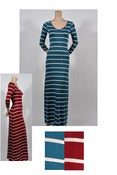 Image of Maroon and Cream Striped Jersey Maxi Dress