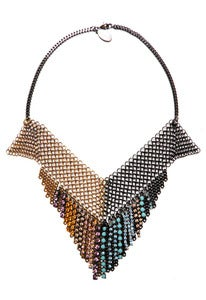 Image of Checkerboard 2-tone chainmaille and crystal necklace