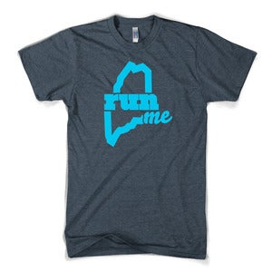 Image of RunME T-shirt (Heather Black/Cyan)