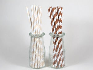 Image of Natural Striped Paper Straws
